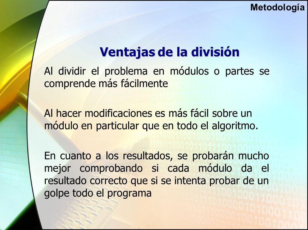 Ventajas de la división Al dividir el problema en módulos o partes se comprende más fácilmente Al hacer modificaciones es más fácil sobre un módulo en particular que en todo el algoritmo.