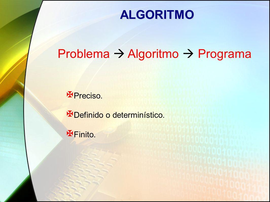 ALGORITMO X Preciso. X Definido o determinístico. X Finito. Problema  Algoritmo  Programa