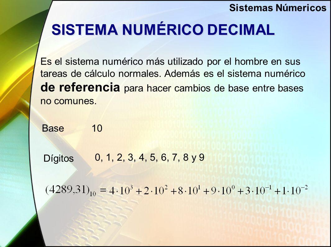 SISTEMA NUMÉRICO DECIMAL Es el sistema numérico más utilizado por el hombre en sus tareas de cálculo normales.