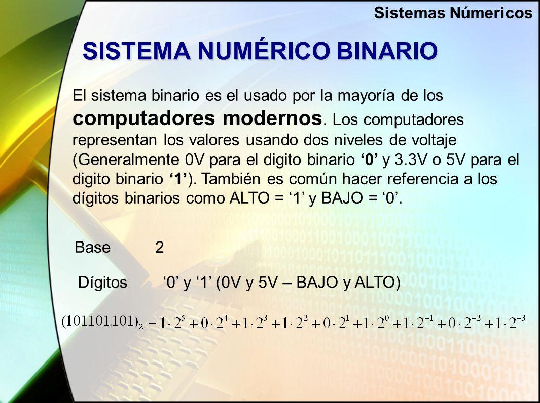 SISTEMA NUMÉRICO BINARIO El sistema binario es el usado por la mayoría de los computadores modernos.