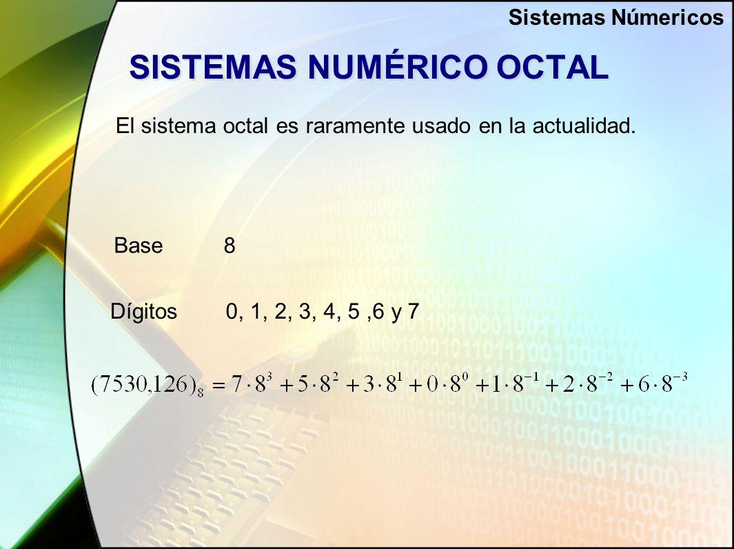 SISTEMAS NUMÉRICO OCTAL El sistema octal es raramente usado en la actualidad.