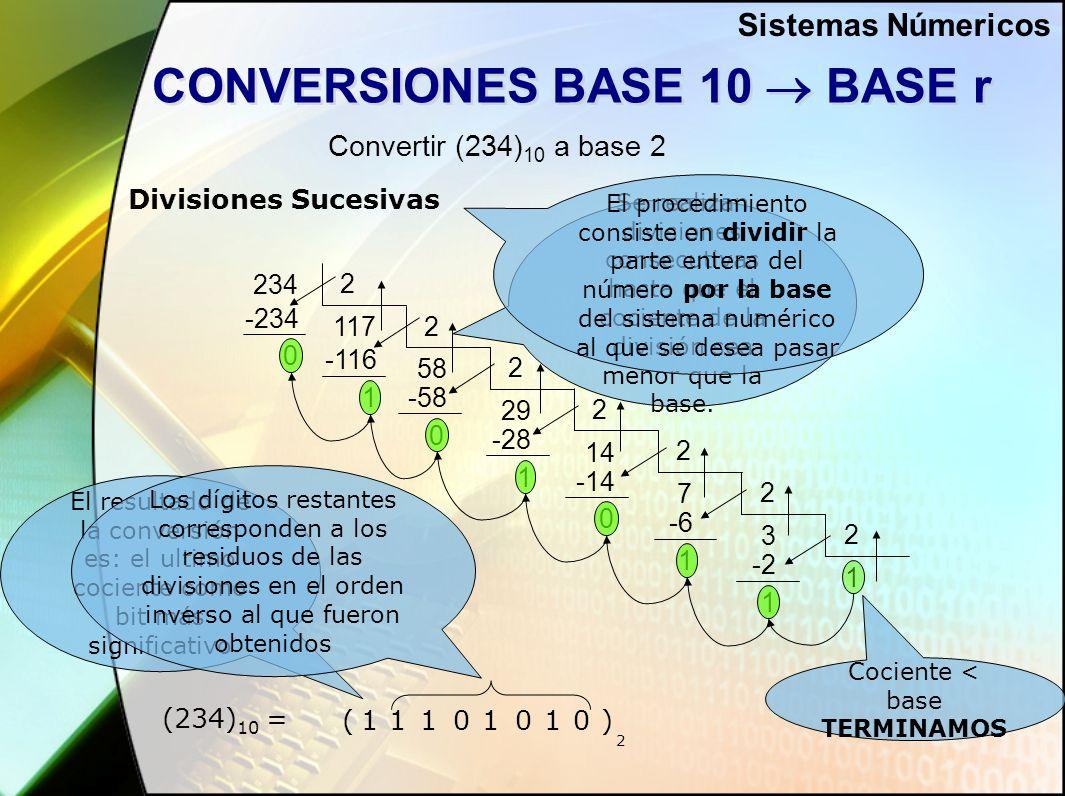 CONVERSIONES BASE 10  BASE r Convertir (234) 10 a base 2 234 7 -234 0 3 -6 117 58 2 2 -116 1 2 29 -58 0 2 14 -28 1 2 -14 0 2 1 2 1 -2 1 Divisiones Sucesivas Se realizan divisiones consecutivas hasta que el cociente de la división sea menor que la base.