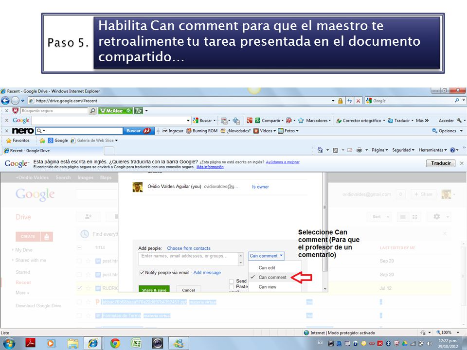 6 Habilita Can comment para que el maestro te retroalimente tu tarea presentada en el documento compartido…