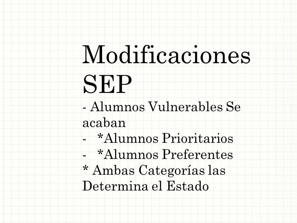 Modificaciones SEP - Alumnos Vulnerables Se acaban -*Alumnos Prioritarios -*Alumnos Preferentes * Ambas Categorías las Determina el Estado 15