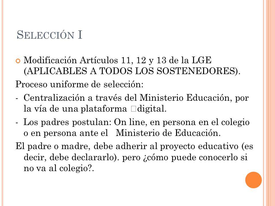 S ELECCIÓN I Modificación Artículos 11, 12 y 13 de la LGE (APLICABLES A TODOS LOS SOSTENEDORES).