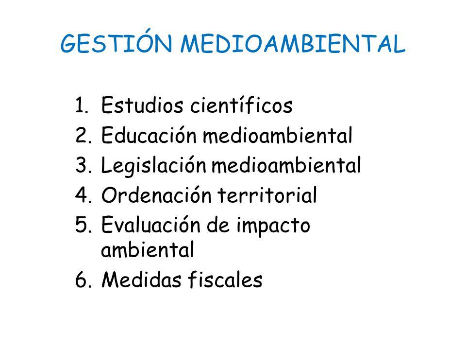 GESTIÓN MEDIOAMBIENTAL 1.Estudios científicos 2.Educación medioambiental 3.Legislación medioambiental 4.Ordenación territorial 5.Evaluación de impacto ambiental 6.Medidas fiscales
