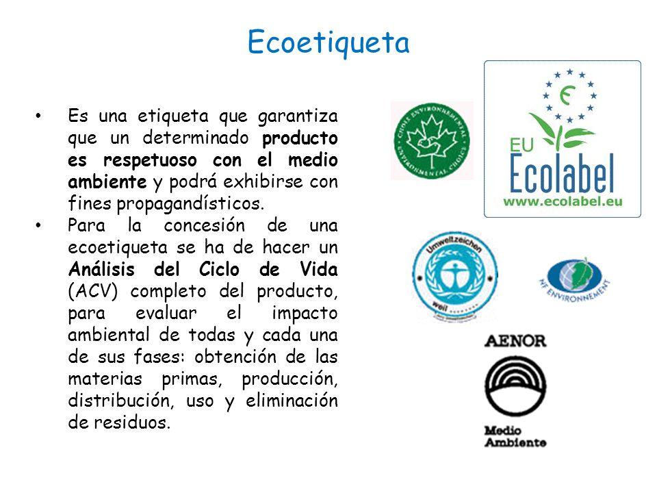 Ecoetiqueta Es una etiqueta que garantiza que un determinado producto es respetuoso con el medio ambiente y podrá exhibirse con fines propagandísticos.
