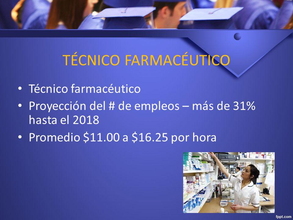 TÉCNICO FARMACÉUTICO Técnico farmacéutico Proyección del # de empleos – más de 31% hasta el 2018 Promedio $11.00 a $16.25 por hora