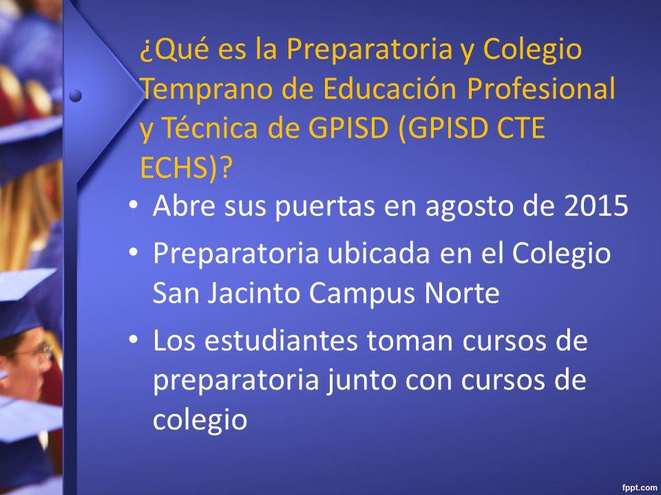 ¿Qué es la Preparatoria y Colegio Temprano de Educación Profesional y Técnica de GPISD (GPISD CTE ECHS).