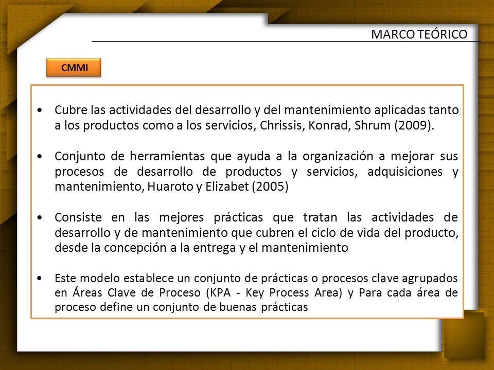 CMMI MARCO TEÓRICO Cubre las actividades del desarrollo y del mantenimiento aplicadas tanto a los productos como a los servicios, Chrissis, Konrad, Shrum (2009).