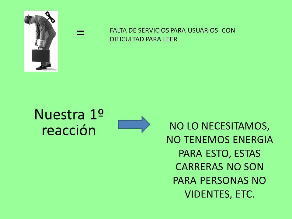 NO LO NECESITAMOS, NO TENEMOS ENERGIA PARA ESTO, ESTAS CARRERAS NO SON PARA PERSONAS NO VIDENTES, ETC.