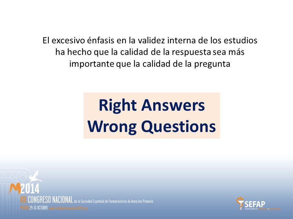El excesivo énfasis en la validez interna de los estudios ha hecho que la calidad de la respuesta sea más importante que la calidad de la pregunta Right Answers Wrong Questions