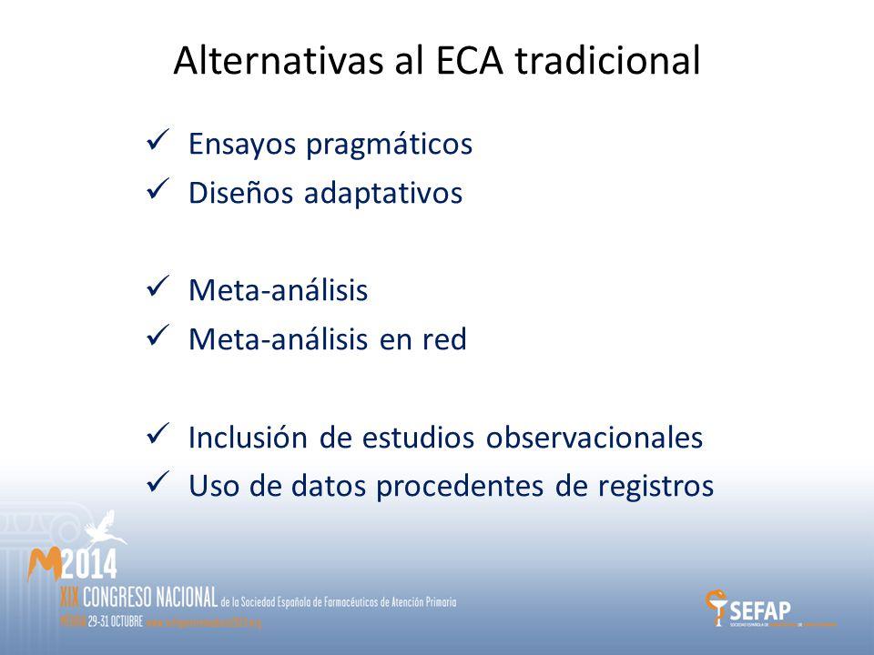 Alternativas al ECA tradicional Ensayos pragmáticos Diseños adaptativos Meta-análisis Meta-análisis en red Inclusión de estudios observacionales Uso de datos procedentes de registros