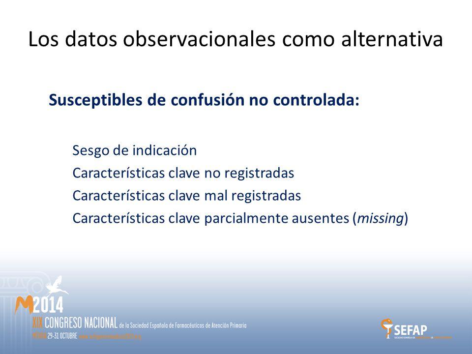 Los datos observacionales como alternativa Susceptibles de confusión no controlada: Sesgo de indicación Características clave no registradas Características clave mal registradas Características clave parcialmente ausentes (missing)
