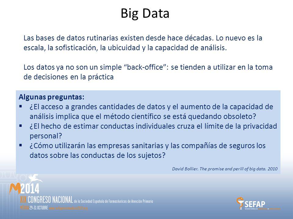 Big Data Las bases de datos rutinarias existen desde hace décadas.
