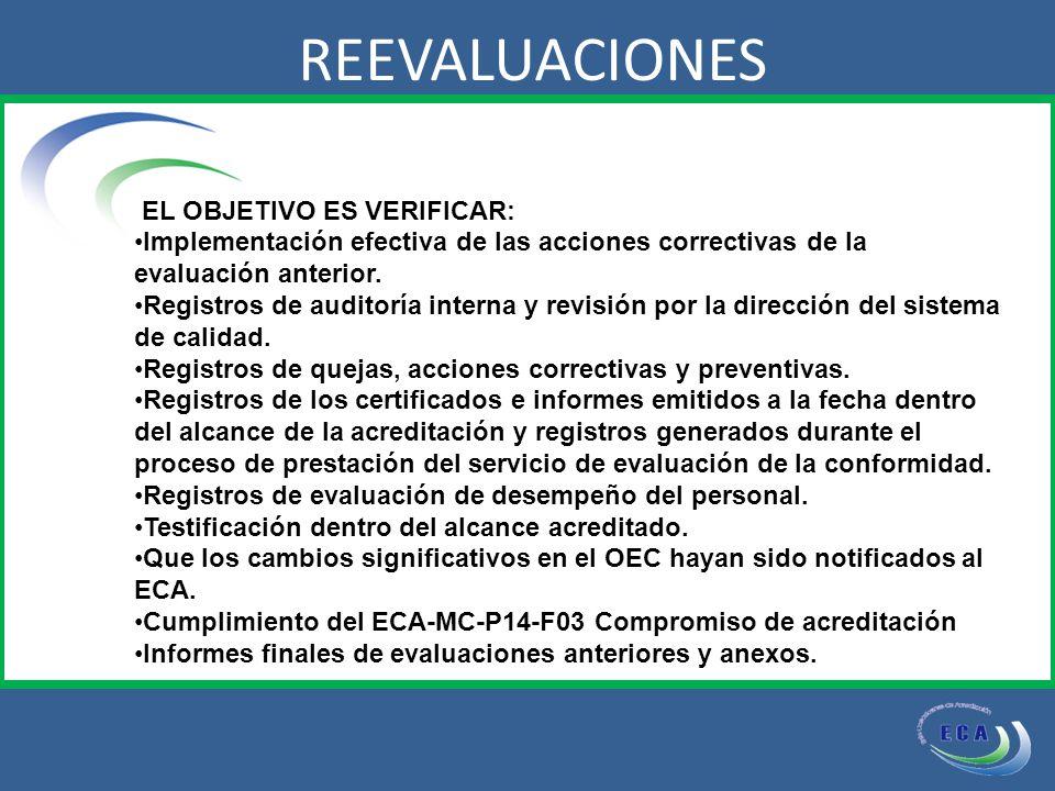 EL OBJETIVO ES VERIFICAR: Implementación efectiva de las acciones correctivas de la evaluación anterior.