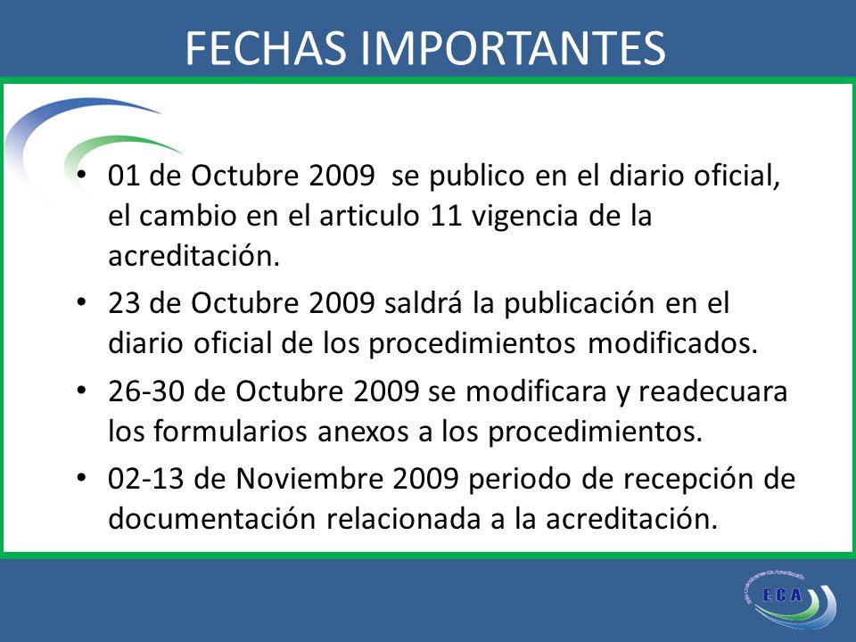 01 de Octubre 2009 se publico en el diario oficial, el cambio en el articulo 11 vigencia de la acreditación.