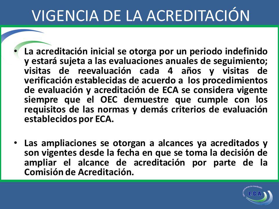 La acreditación inicial se otorga por un periodo indefinido y estará sujeta a las evaluaciones anuales de seguimiento; visitas de reevaluación cada 4 años y visitas de verificación establecidas de acuerdo a los procedimientos de evaluación y acreditación de ECA se considera vigente siempre que el OEC demuestre que cumple con los requisitos de las normas y demás criterios de evaluación establecidos por ECA.