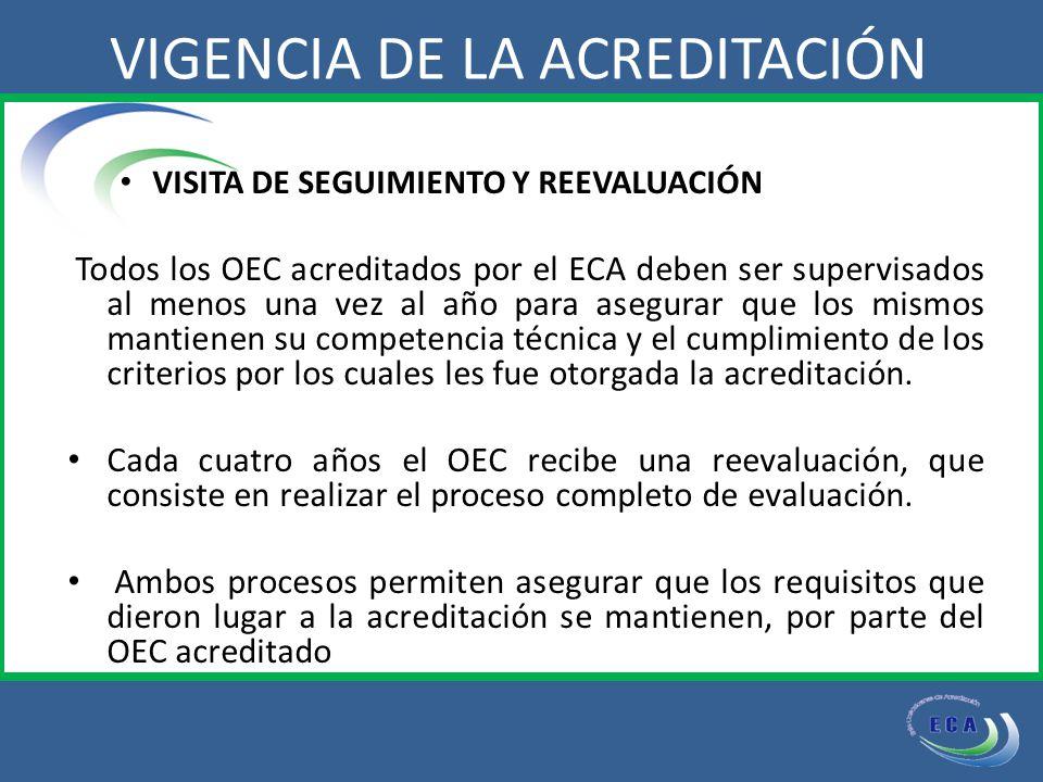 VISITA DE SEGUIMIENTO Y REEVALUACIÓN Todos los OEC acreditados por el ECA deben ser supervisados al menos una vez al año para asegurar que los mismos mantienen su competencia técnica y el cumplimiento de los criterios por los cuales les fue otorgada la acreditación.