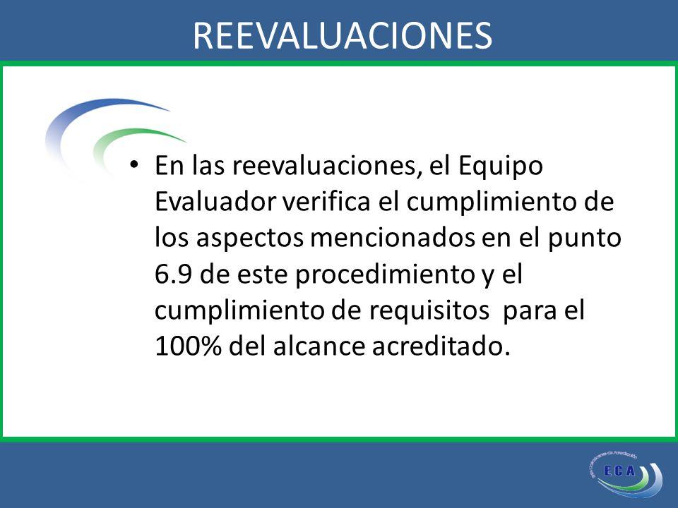 En las reevaluaciones, el Equipo Evaluador verifica el cumplimiento de los aspectos mencionados en el punto 6.9 de este procedimiento y el cumplimiento de requisitos para el 100% del alcance acreditado.