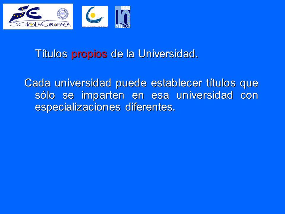 Títulos propios de la Universidad.