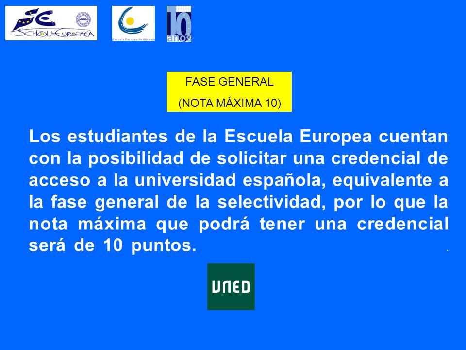 Los estudiantes de la Escuela Europea cuentan con la posibilidad de solicitar una credencial de acceso a la universidad española, equivalente a la fase general de la selectividad, por lo que la nota máxima que podrá tener una credencial será de 10 puntos..