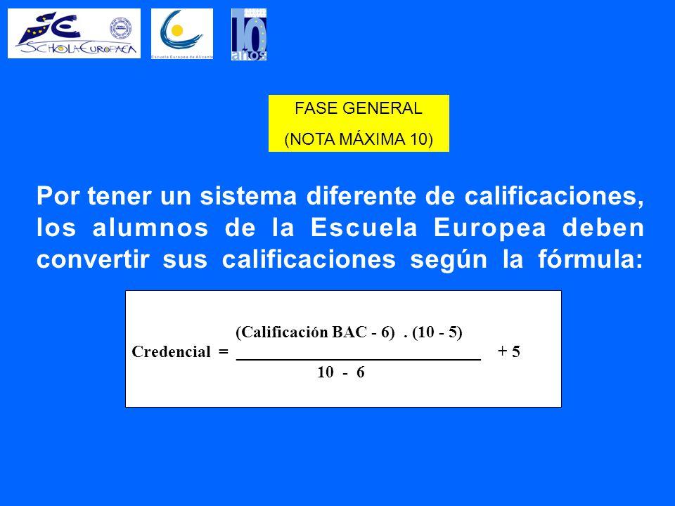 Por tener un sistema diferente de calificaciones, los alumnos de la Escuela Europea deben convertir sus calificaciones según la fórmula: (Calificación BAC - 6).