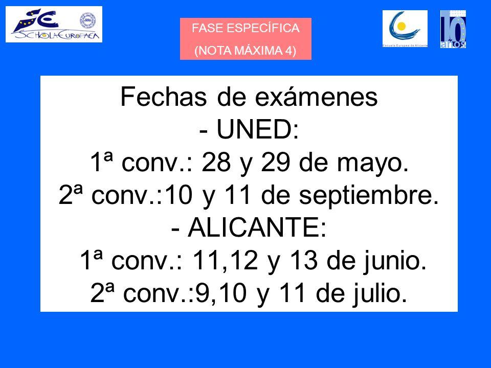 FASE ESPECÍFICA (NOTA MÁXIMA 4) Fechas de exámenes - UNED: 1ª conv.: 28 y 29 de mayo.