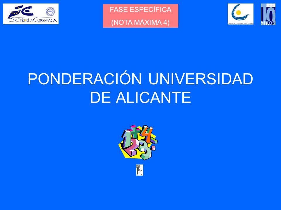 PONDERACIÓN UNIVERSIDAD DE ALICANTE FASE ESPECÍFICA (NOTA MÁXIMA 4)