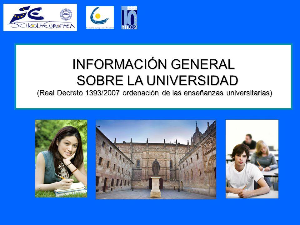 INFORMACIÓN GENERAL SOBRE LA UNIVERSIDAD (Real Decreto 1393/2007 ordenación de las enseñanzas universitarias)