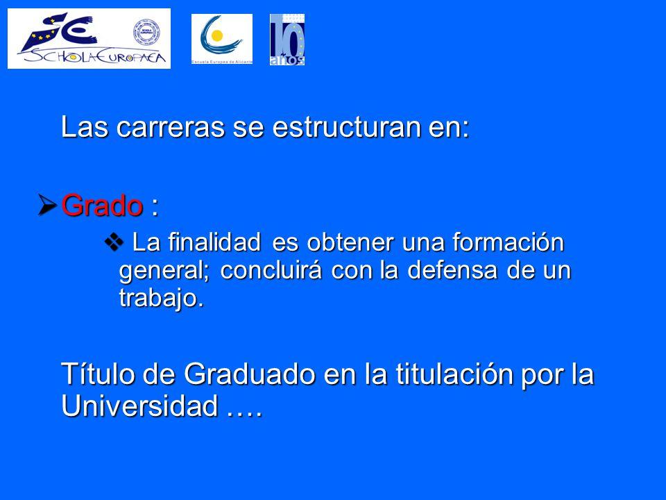 Las carreras se estructuran en:  Grado :  La finalidad es obtener una formación general; concluirá con la defensa de un trabajo.