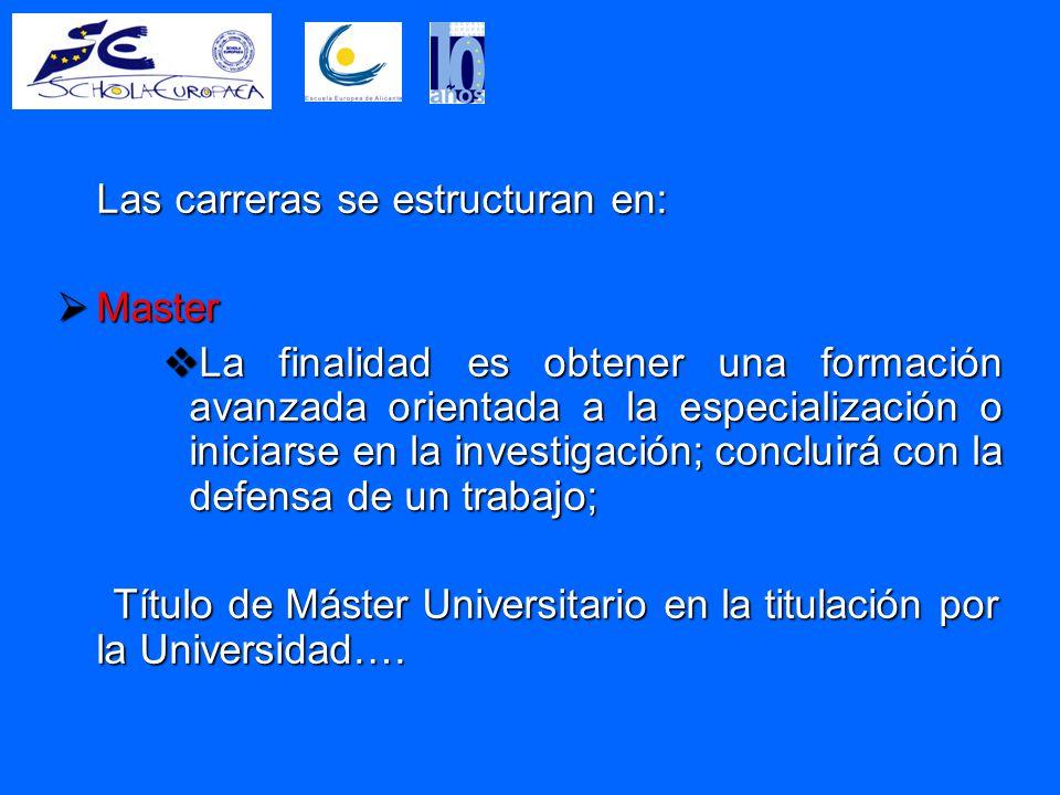 Las carreras se estructuran en:  Master  La finalidad es obtener una formación avanzada orientada a la especialización o iniciarse en la investigación; concluirá con la defensa de un trabajo; Título de Máster Universitario en la titulación por la Universidad….
