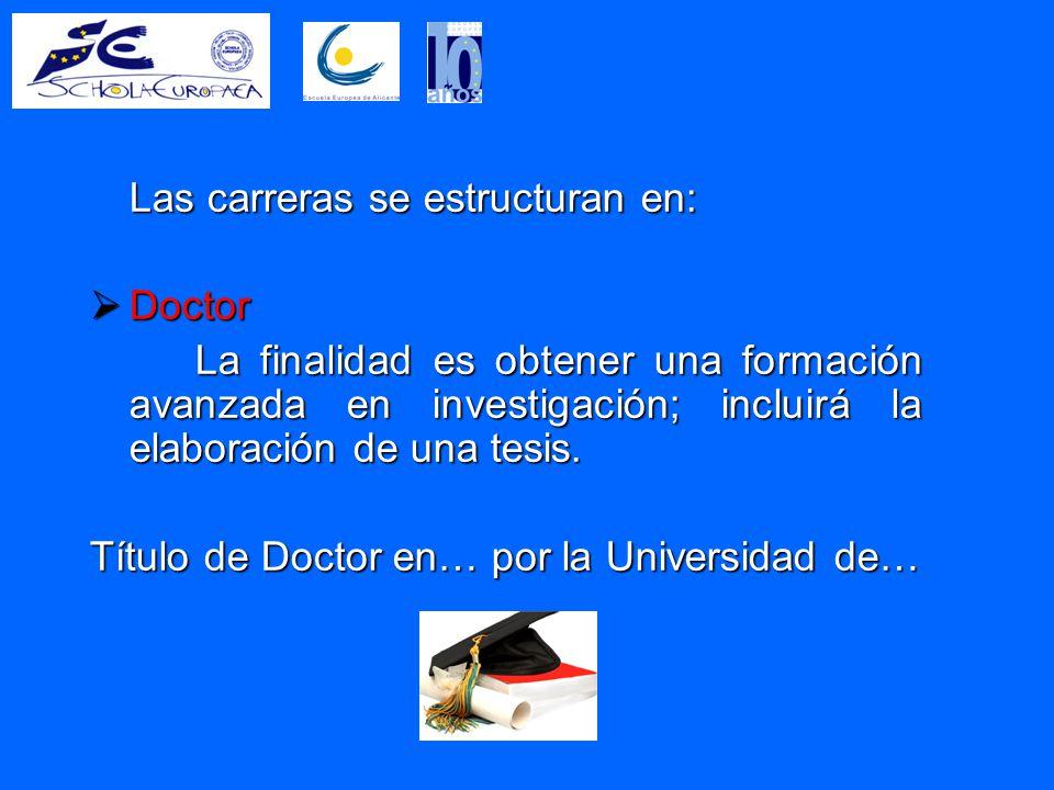 Las carreras se estructuran en:  Doctor La finalidad es obtener una formación avanzada en investigación; incluirá la elaboración de una tesis.