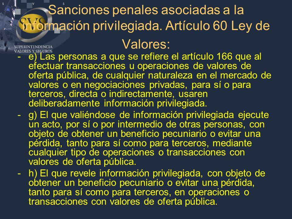Sanciones penales asociadas a la información privilegiada.