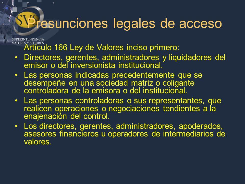 Presunciones legales de acceso Artículo 166 Ley de Valores inciso primero: Directores, gerentes, administradores y liquidadores del emisor o del inversionista institucional.