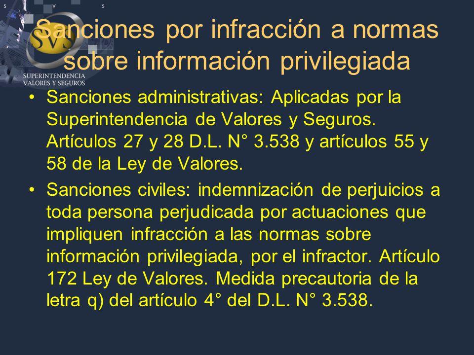 Sanciones por infracción a normas sobre información privilegiada Sanciones administrativas: Aplicadas por la Superintendencia de Valores y Seguros.