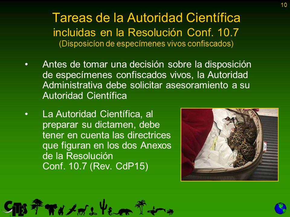 10 Tareas de la Autoridad Científica incluidas en la Resolución Conf.