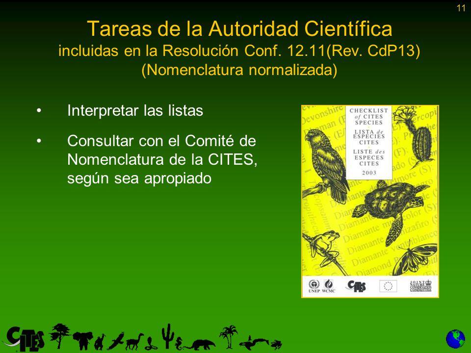 11 Tareas de la Autoridad Científica incluidas en la Resolución Conf.