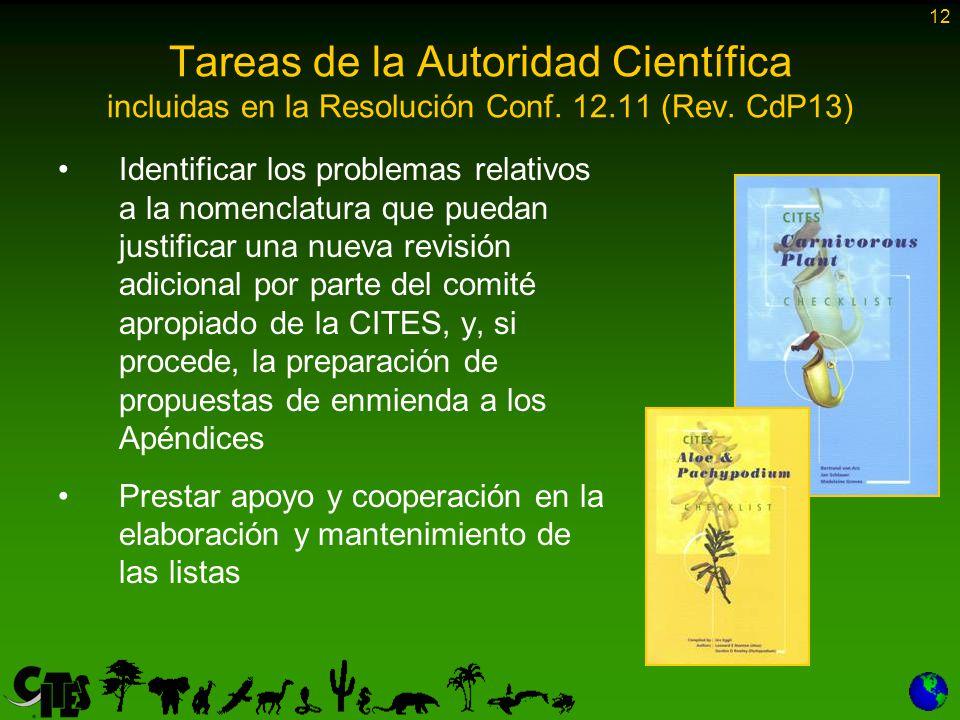 12 Tareas de la Autoridad Científica incluidas en la Resolución Conf.