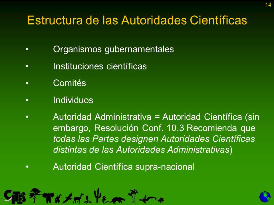 14 Estructura de las Autoridades Científicas Organismos gubernamentales Instituciones científicas Comités Individuos Autoridad Administrativa = Autoridad Científica (sin embargo, Resolución Conf.