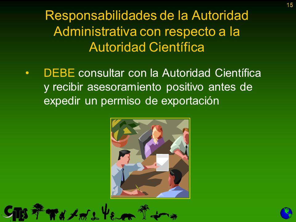 15 Responsabilidades de la Autoridad Administrativa con respecto a la Autoridad Científica DEBE consultar con la Autoridad Científica y recibir asesoramiento positivo antes de expedir un permiso de exportación