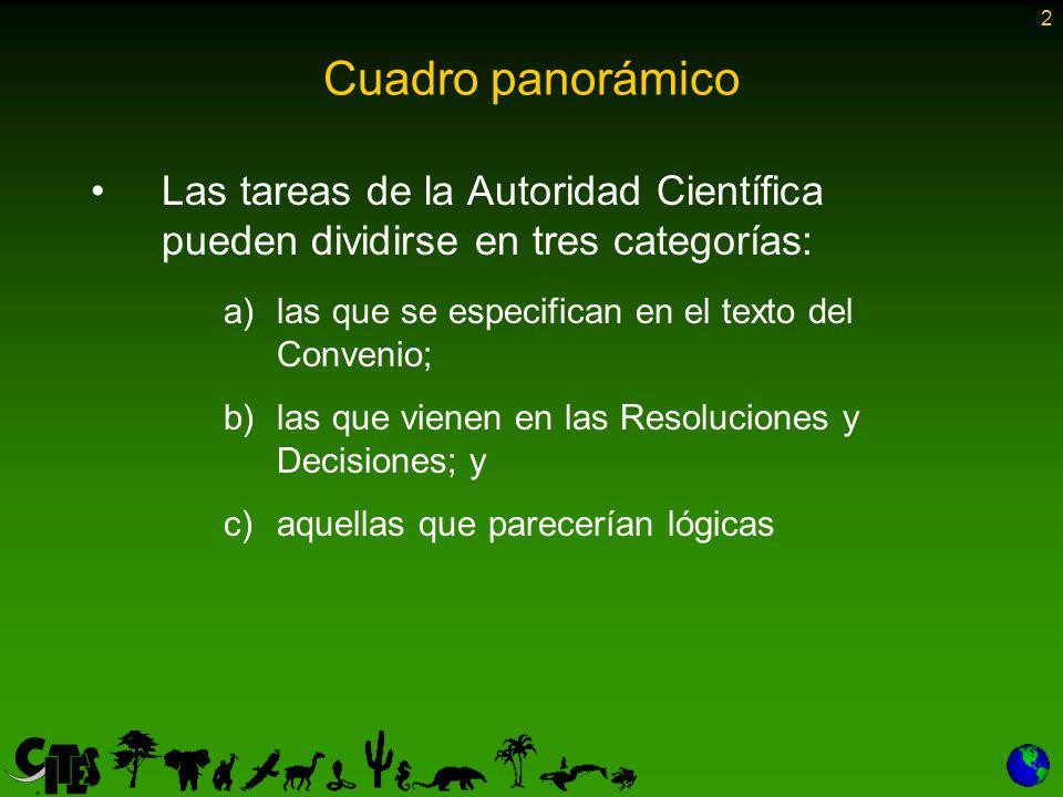 2 Cuadro panorámico Las tareas de la Autoridad Científica pueden dividirse en tres categorías: a)las que se especifican en el texto del Convenio; b)las que vienen en las Resoluciones y Decisiones; y c)aquellas que parecerían lógicas