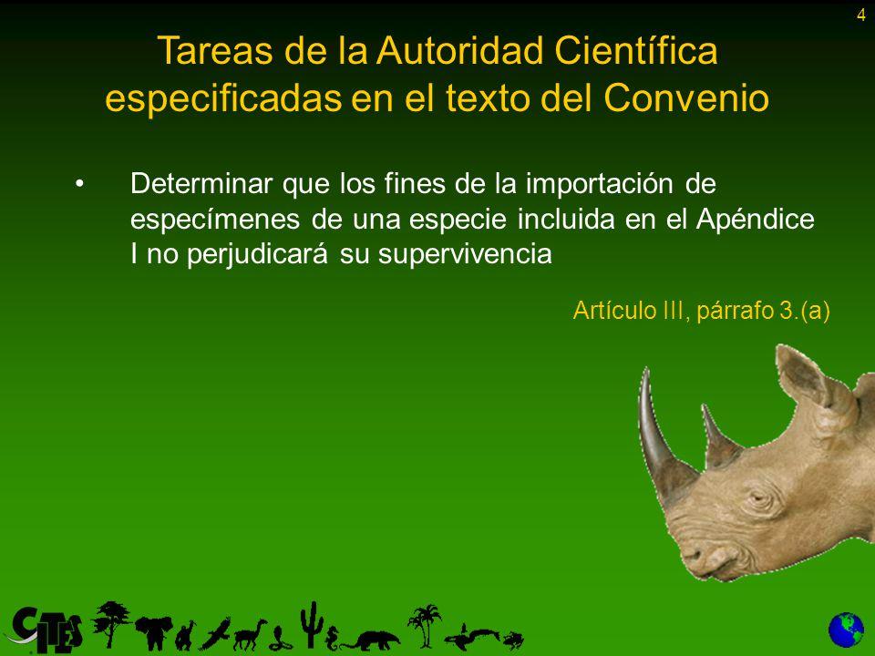 4 Determinar que los fines de la importación de especímenes de una especie incluida en el Apéndice I no perjudicará su supervivencia Artículo III, párrafo 3.(a) Tareas de la Autoridad Científica especificadas en el texto del Convenio