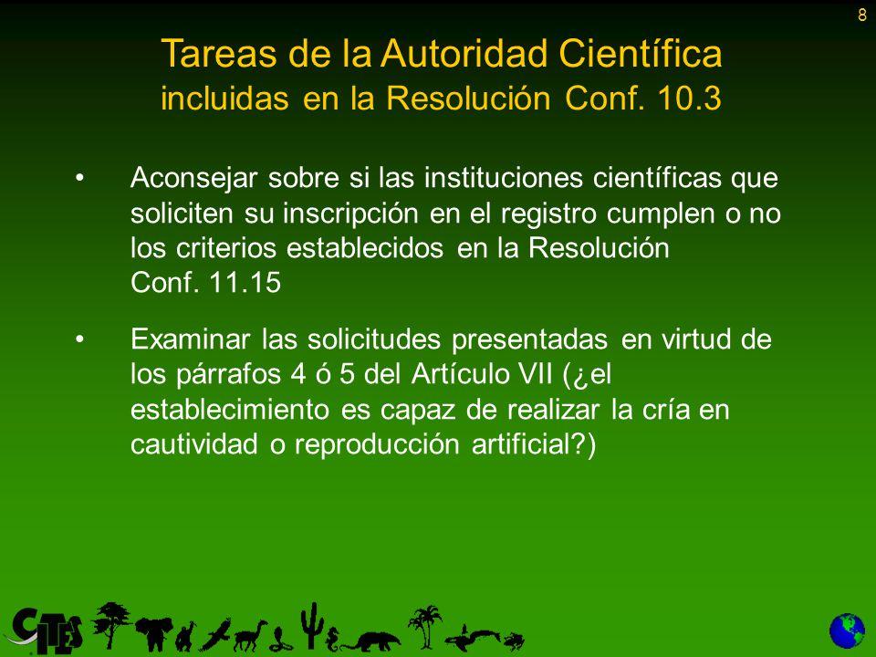 8 Aconsejar sobre si las instituciones científicas que soliciten su inscripción en el registro cumplen o no los criterios establecidos en la Resolución Conf.
