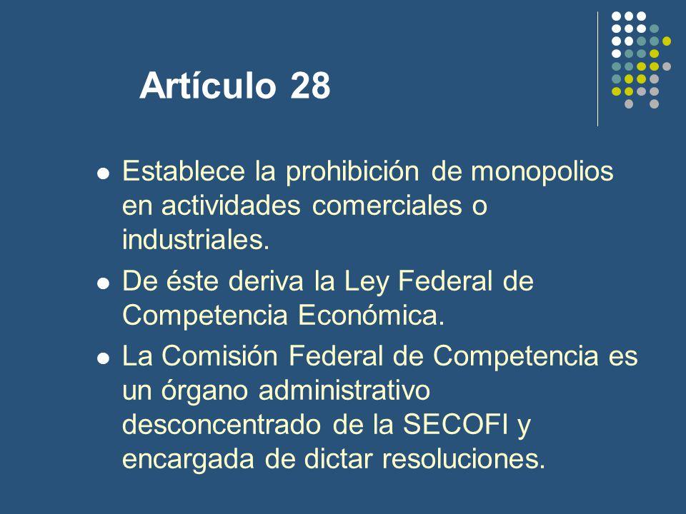 Artículo 28 Establece la prohibición de monopolios en actividades comerciales o industriales.