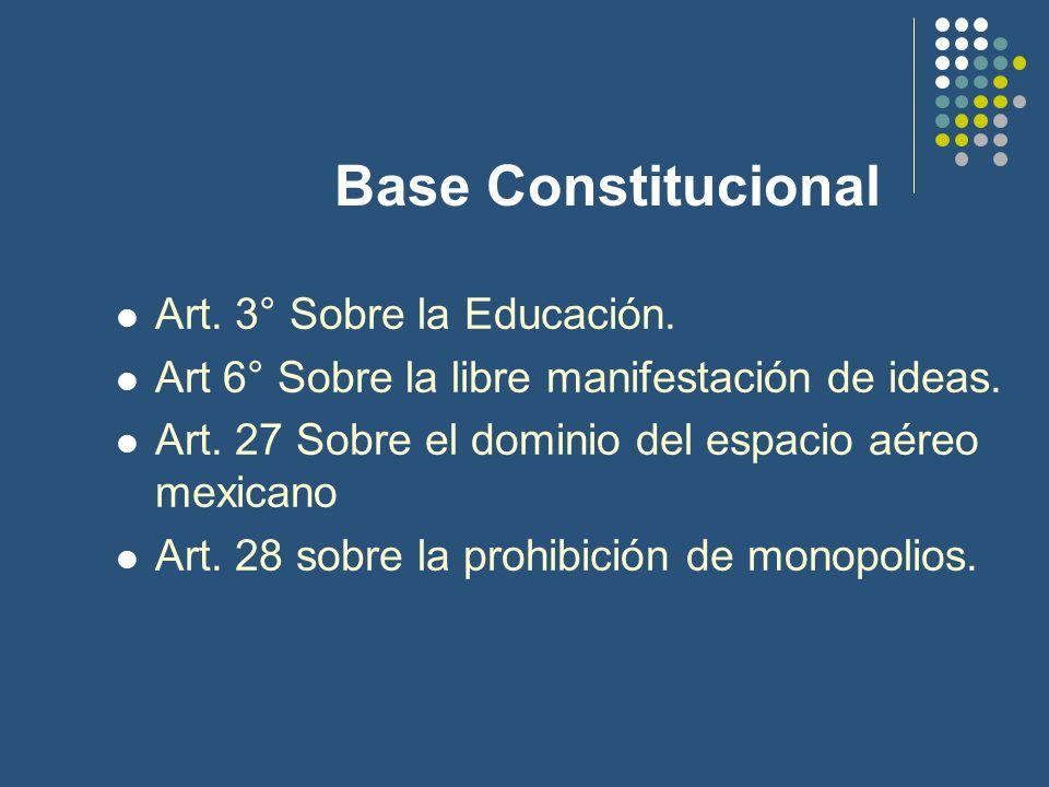 Base Constitucional Art. 3° Sobre la Educación. Art 6° Sobre la libre manifestación de ideas.