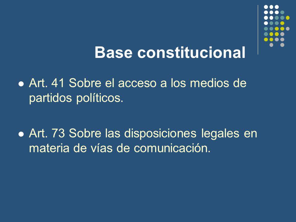 Base constitucional Art. 41 Sobre el acceso a los medios de partidos políticos.