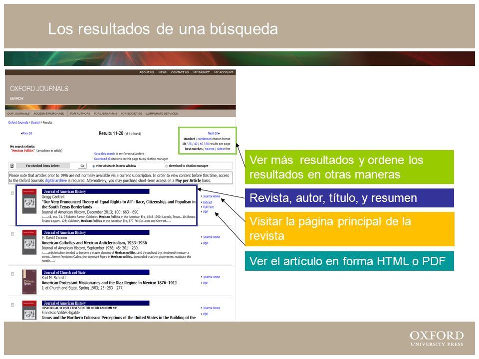 Los resultados de una búsqueda Visitar la página principal de la revista Ver el artículo en forma HTML o PDF Revista, autor, título, y resumen Ver más resultados y ordene los resultados en otras maneras