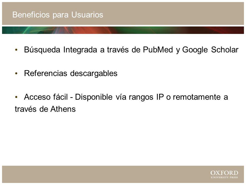 Beneficios para Usuarios Búsqueda Integrada a través de PubMed y Google Scholar Referencias descargables Acceso fácil - Disponible vía rangos IP o remotamente a través de Athens