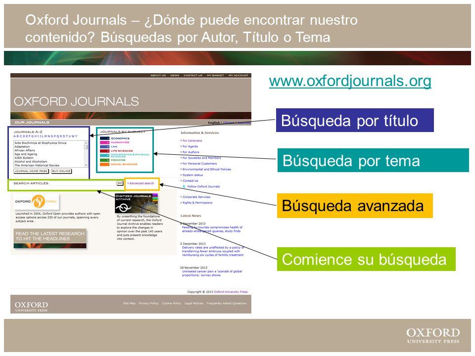 Oxford Journals – ¿Dónde puede encontrar nuestro contenido.